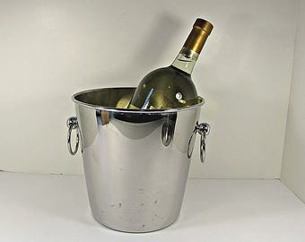 Vintage STAiNLESS STEEL CHAMPAGNE BUCKET Chrome Wine Chiller WEDDiNG Italy