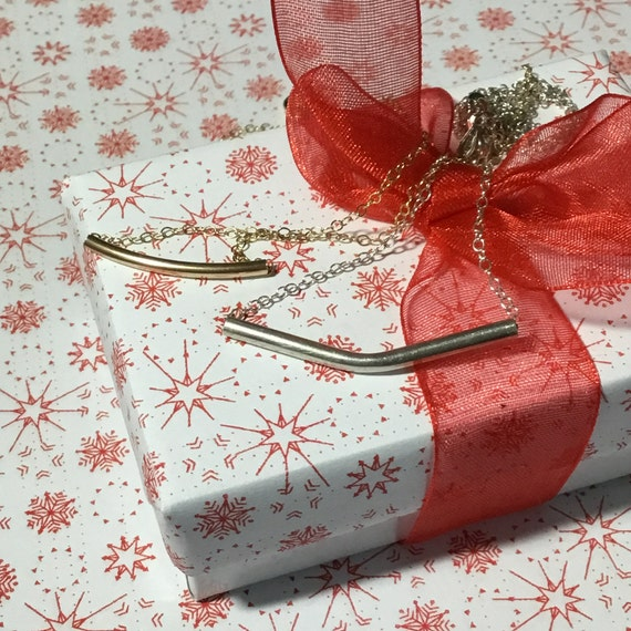 Tube Necklace, Gold Filled, Sterling Silver, Gifts Under 25 Dollars