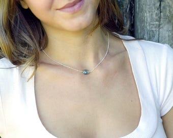 Simple Labradorite Stone Necklace, Silver Labradorite Necklace, Choker Necklace, Sterling Silver, Small Labradorite Necklace