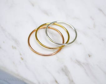 Set of Three Thin Finger Rings, Stack Rings, 14kt Gold Filled, Sterling Silver, 14kt Rose Gold Filled, Midi Ring Set