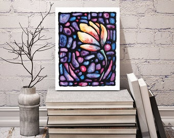 Tulip Print - FREE Shipping - Yellow Tulip Flower Artwork - Tulip Wall Hanging - Floral Art Poster - Art Nouveau Artwork - Stained-Glass