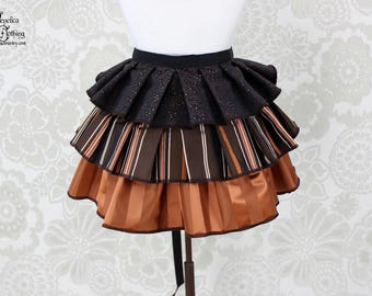"Steampunk Ruffle Bustle Overskirt - Brown & Copper - 3 Layer, Sz. S - Fits up to 45"" Waist/Upper Hip -- Ready to Ship"