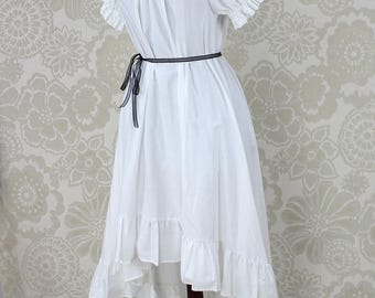 "Steampunk Ragamuffin Dress with Cora Sleeves in White Cotton -- Size Small, Fits Bust 33""-37"" -- Ready to Ship"