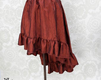 """Steampunk High Low Cecilia Skirt, Longer Length -- Russet Crinkle Taffeta -- Ready to Ship -- Best Fits Up To 48"""" Waist"""