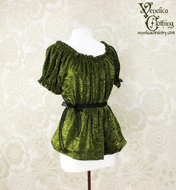 Steampunk Renaissance Cora Chemise in Olive Crinkled Shimmer Satin -- Custom Made in Your Size