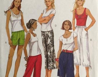 Butterick B5044, Size Large, X Large, Misses' Shorts and Pants Pattern, UNCUT, Fashion Express, Elastic Waist, 2007, Casual Pants