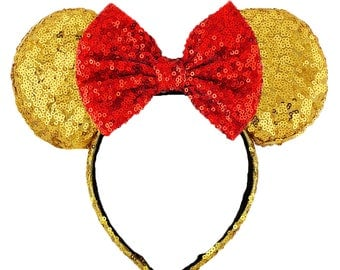 Beauty and the Beast Ears Belle Minnie Mouse Ears Disney Ears Sequin Gold Ears Beauty and the Beast Headband Sequin Ears Mickey Mouse Ears