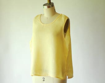 vintage FLAX yellow linen tank top / size small
