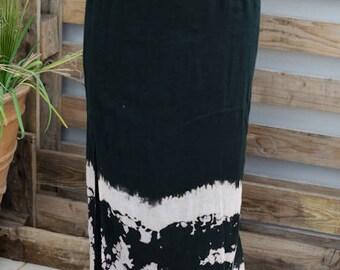 90's Handdyed Maxi Skirt - Black and White Double Sided Cotton Skirt - Aravella Salokinikidou Brand