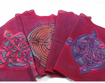"Celtic knot Silk Scarf. Labyrinth silk scarf. 11""x59"" crepe silk. Hand painted silk scarf. Hand-painted silk scarves. Painted silk scarves"