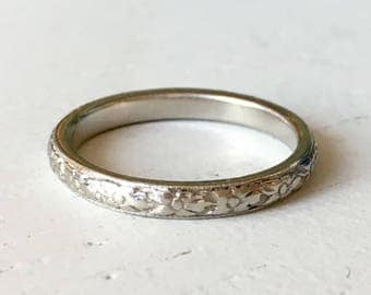 Substantial Floral Carved Platinum Wedding Band - Size 4.5