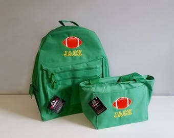 Toddler backpack and lunch bag, Boys backpack, personalized backpacks set, football backpack, back to school