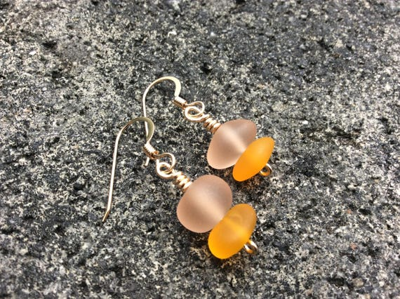 Pink & Orange, Recycled Seaglass 14k Gold Filled Earrings