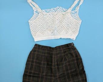 1950s Dark Plaid High Waist Cotton Shorts Small 26 waist
