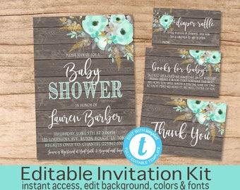 Rustic Floral Invitation Set, Boho Mint Gold, Baby Shower Invitation Kit, Editable Fall Baby Shower invitation, Templett, Instant Download