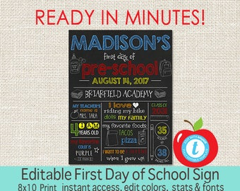 First Day of School Chalkboard, 1st Day of School sign, ANY GRADE, Back to School, 1st Day School Printable Sign, EDITABLE, Instant Download