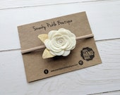Felt Rose Headband,Felt Flower Headband,Ivory Gold,Newborn Headband,Toddler Girls,Single Rose Headband,Nylon Headband