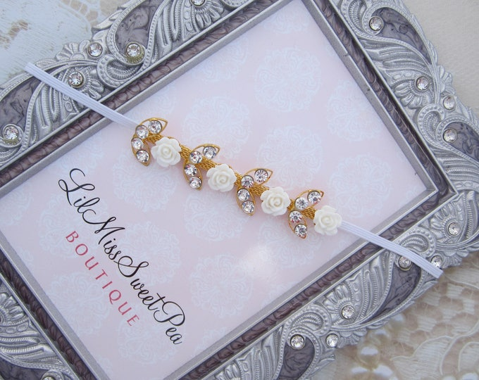 Featured listing image: Gold Leaf with Rhinestones and Roses Headband for newborn photos, photographer, prop shop, bebe, baby bling by Lil Miss Sweet Pea