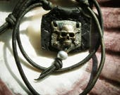 Bronze & Leather Pirate Skull Necklace
