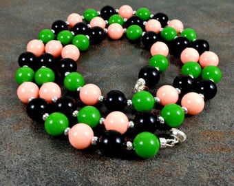Long Neckace, Beaded, Green, Black, Peach, Boho Necklace, Bohemian Necklace, Layering Necklace, Gift for Her, Magnetic Clasp