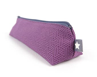 Purple Geometric Fabric Pencil Case Simple Small Pencil Pouch Stocking Stuffers for Teen Gift