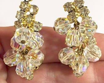 Vintage Juliana Aurora Borealis Crystal and Rhinestone Climber Clip On Earrings