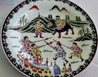 "Hand Painted Modernist Art by Nora Fenton 10"" White Display Plate Macau Import Brutalist Warriors"