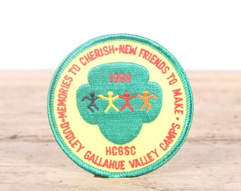 Vintage Scout Patch / 1980s HCGSC Dudley Gallahue Valley Camps Patch / Girl Scout Patch / Boy Scout Patch / Grunge Patch