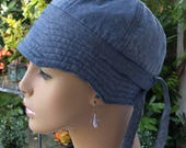 Womens Cancer Hat Women's Soft Cotton Chemo Hat Handmade in the USA Blue Chambray Reversible Medium