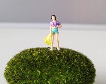 Miniature World Terrarium People Tiny Woman Purple Polka Dot Summer Crop Top HO Scale Hand painted One of a Kind Railroad