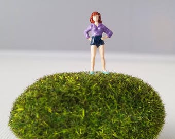 Miniature World Terrarium People Tiny Woman in Shorts Purple Shirt Summer HO Scale Hand painted One of a Kind Railroad Figure