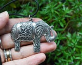 Elephant Necklace, Large Elephant Pendant, Elephant Jewelry, Elephant Pendant on Cord, Elephant Lovers, Silver, Gifts Under 20, Canadian