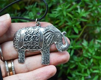 Elephant Necklace, Large Elephant Pendant, Elephant Jewelry, Elephant Pendant on Cord, Elephant Lovers, Silver, Gifts Under 20, Canadian