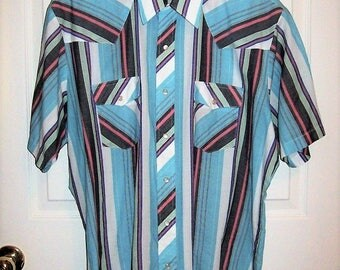 Vintage Men's Blue Striped Snap Front Short Sleeve Shirt by Wrangler Western Shirts XL Only 10 USD