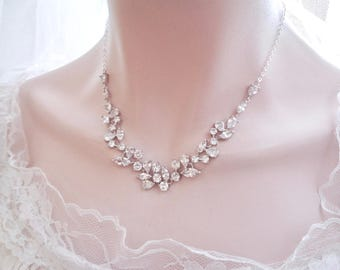 Brides necklace ~ AAA Cubic Zirconia's ~ Wedding Necklace ~ Marquise cut ~ Leaf design~ Wedding jewelry ~ Bridal necklace  ~ Stunning ~LILLY