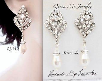 Pearl earrings,Crystal rose bud earrings,Brides pearl earrings,Crystal and pearl earrings,Art deco pearl earrings,Victroian wedding earrings