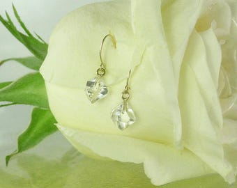 Herkimer Diamond Earrings, Herkimer Crystal Earrings, Raw Crystal Jewelry, 14K gold Herkimer Earrings, Dangle, Crystal earrings