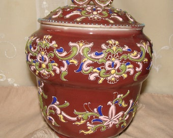 Japanese Moriage Oriental Jar with raised relief Design in Four Vibrant Colors, May Be 19th Century