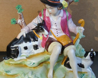 German Figurine, Meissen Maybe, Boy With Goats, Made in Germany, Item 12399