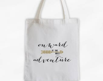 Onward to the Next Adventure Cotton Canvas Tote Bag with Arrow - Custom Travel Bag in Black and Gold (3023)