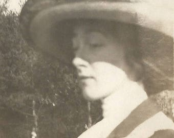 """Vintage Photo """"Beautiful Betty"""" Profile Of Pretty Girl Victorian Hat Small Found Vernacular Photo"""