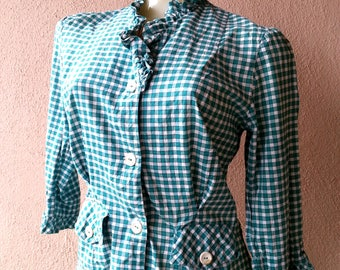 green check plaid top with ruffles vintage 50s