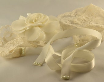 Wedding Bridal Lace Headband, Ivory Flower Wedding Headband,  Boho Wedding Hairpiece, Ready to Ship