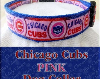 Chicago Cubs PINK Designer Baseball MLB Novelty Dog Collar
