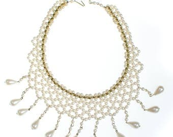 Vintage Pearl Bib Necklace