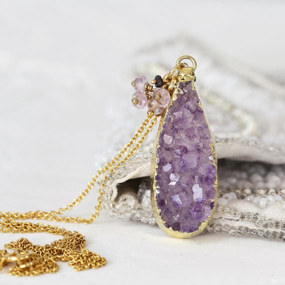 Amethyst Druzy Necklace - Diamond & Amethyst Cluster Necklace
