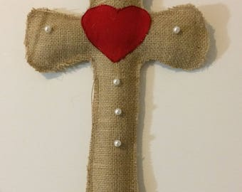 Burlap Cross of Heart