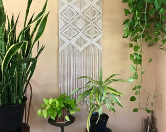 "Large Macrame Wall Hanging - Natural White Cotton Rope 24"" Wooden Dowel - Geometric Boho Home, Nursery Decor, Curtain - Ready To Ship"