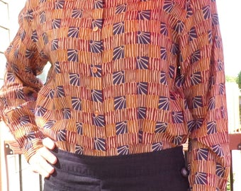1990's ETHNIC STYLE PRINT mudcloth block button front blouse M 90's