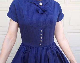 "kerrybrooke NAVY 1950's DRESS with HEART buttons full skirt S 26.5"" waist"